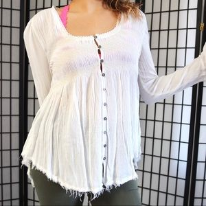 Free People Distressed Button Down Blouse